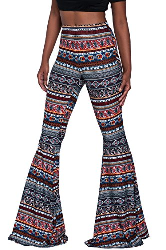 Herose Ladies Summer Tribal Patterns Print Floor Length Flares Leggings M Navy Blue