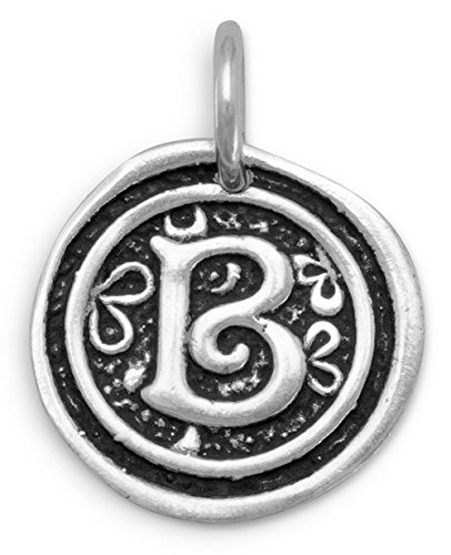 Oxidized Sterling Silver Charm Pendant, 3/4 inch, Initial/Letter B