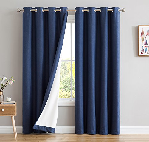 Grandmother Panel - HLC.ME Textured 100% Blackout Room Darkening Thermal Insulated Curtain Grommet Panels For Bedroom - Energy Efficient, Complete Darkness, Noise Reducing - Set of 2 (52