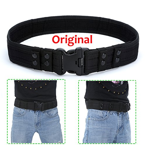Yahill Safety Security Tactical Belt Combat Gear Adjustable Heavy Duty Police Equipment Accessories for Sports Outdoor (Black-Origin)
