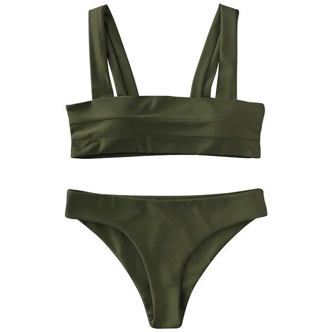 d57863045fb9e ZAFUL Women Wide Straps Padded Bandeau Bikini Set Solid Color Sport Push-up Bathing  Suit: Amazon.co.uk: Clothing