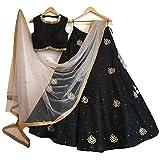 Drashti Villa Women's Black color Bangalore silk Lehenga Choli (Black_Free Size)