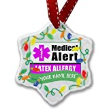 Personalized Name Christmas Ornament, Medical Alert Purple Latex Allergy NEONBLOND