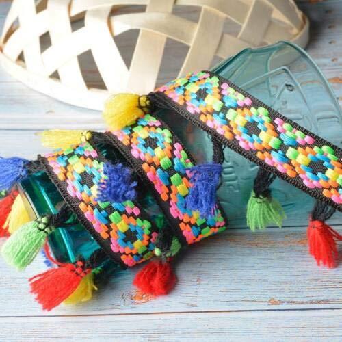 (FidgetKute 2Yards Ethnic Fringe Lace Trim Jacquard Tassel Embroidery Garment DIY Sewing Hat 20019 Color 2 Yards)