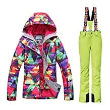 GSOU SNOW New Women Winter Warm Windproof Waterproof Breathable Ski Suit Jacket (colorful cloths with Green pants)