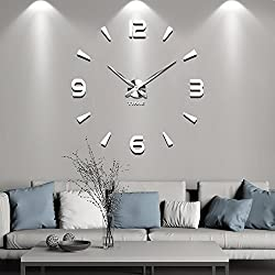 Vangold Large 3D DIY Wall Clock Roman Numerals Clock Frameless Mirror Surface Wall Sticker Home Décor for Living Room Bedroom (2-Year Warranty) (Silver-73)