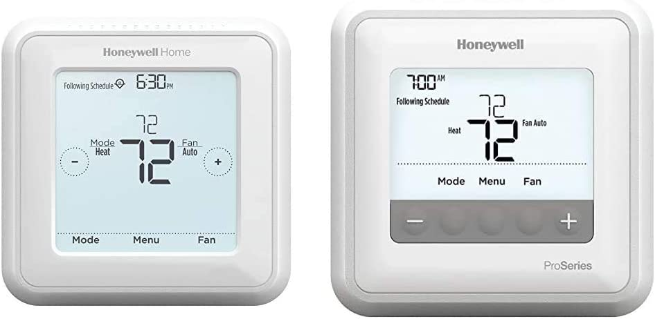 Honeywell Home RTH8560D 7 Day Programmable Touchscreen Thermostat & TH4110U2005/U T4 Pro Program Mable Thermostat, White