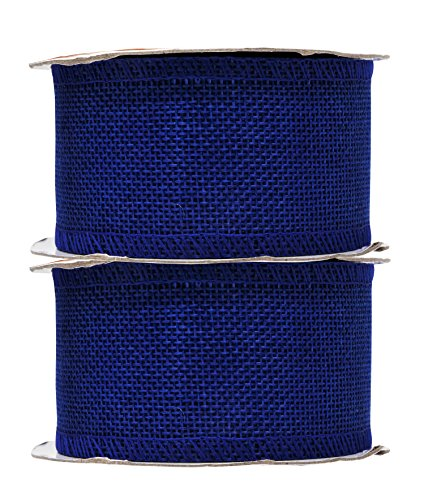 (Mandala Crafts Burlap Ribbon, Jute Fabric Strip Spool for Rustic Ornament, Wreath Making, Holiday Decorating, Gift Wrapping (Royal Blue, 2 Inches))