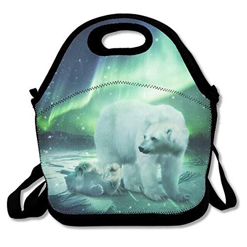 UKZAKOU Northern Lights Polar Bear Lunch Bag Handbag Tote with Shoulder Strap Cooler Warm Pouch for Kids School Camping Travel