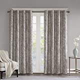 Cheap SunSmart Blackout Curtains For Bedroom, Traditional Grommet Taupe Window Curtains For Living Room Family Room, Jenelle Paisley Therma Black Out Window Curtain For Kitchen, 50X95, 1-Panel Pack