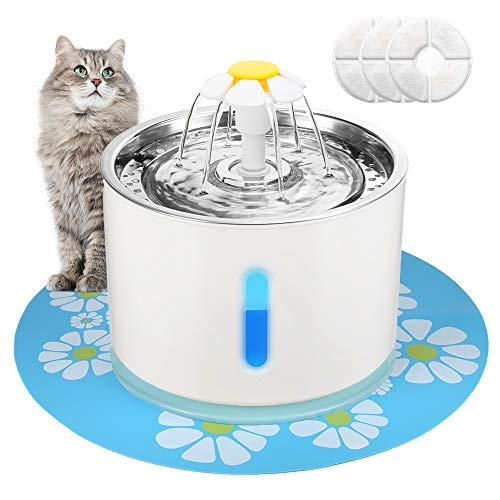 EZVOV Cat Water Fountain Stainless Steel, Intelligent Power Off Pet Fountain Cat Water Dispenser with 3 Replacement Filters and 1 Silicone Mat, Ultra Quiet for Cats, Dogs, Multiple Pets