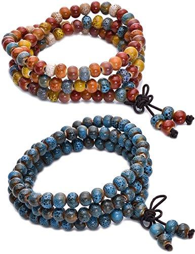 FIBO STEEL 7MM Porcelain Beaded Bracelet for Men Women Buddha Bracelet Mala Elastic 2Pcs
