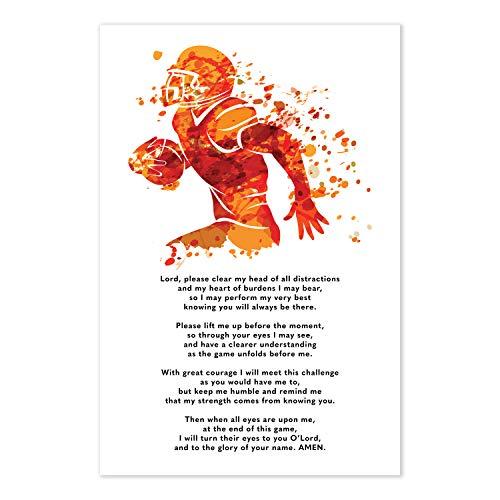 Football Prayer Poster - Christian Athlete Gift -