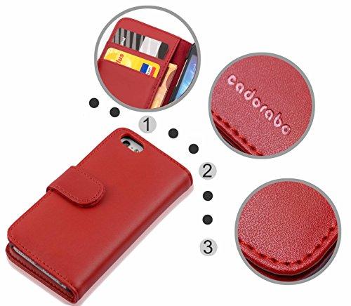 Cadorabo - Etui Housse pour Apple iPhone 5 / 5S / 5G - Coque Case Cover Bumper Portefeuille (avec fentes pour cartes) en ROUGE CERISE