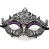 ILOVEMASKS Party Queen Venetian Mask Sparkling Purple Rhinestone-Black