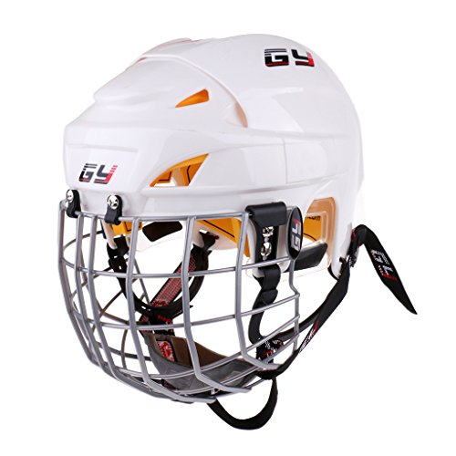 simhoa CE Certified Ice Hockey Helmet W/Cage Face Mask Protective Gear White XS-XL - White, S