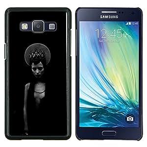 KLONGSHOP // Cubierta de piel con cierre a presión Shell trasero duro de goma Protección Caso - Negro Chica místico oscuro Moda - Samsung Galaxy A5 A5000 //