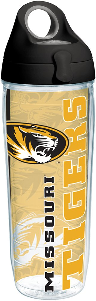 Tervis 1215219 Missouri Tigers College Pride Tumbler with Wrap and Black with Gray Lid 24oz Water Bottle, Clear