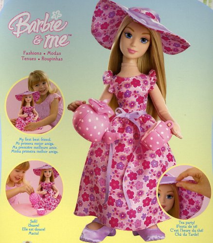 Barbie and Me Fashions, Pretty Tea Dress, Tea Pot and Cup (1 Each) by Mattel