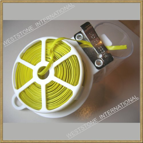 3pcs 65ft (20m) Yellow Plastic Twist Tie Roll with Cutter - Flat by Weststone