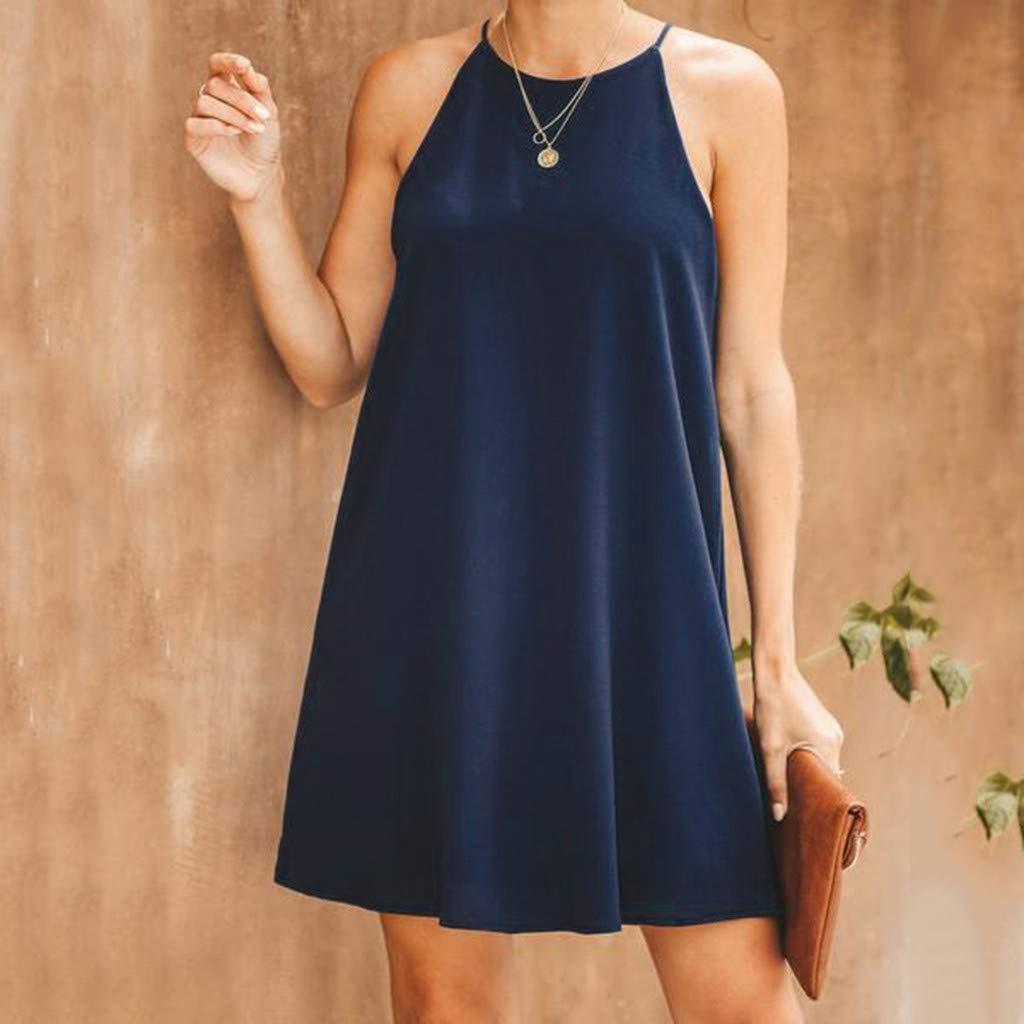 Sunmoot Clearance Sale Women Halter Dress Sling Mini Nightdress,Plain Simple Casual Loose Sleeveless Trapeze Dresses