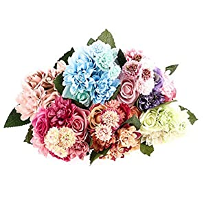 XHSP 1 Bunch 8 Heads Artificial Rose Dahlia Daisy Flower Bouquet Silk Fake Flowers Arrangements Bride Wedding Holding Flowers for Home Hotel Party Garden Art Decor(Vase not Included) 84
