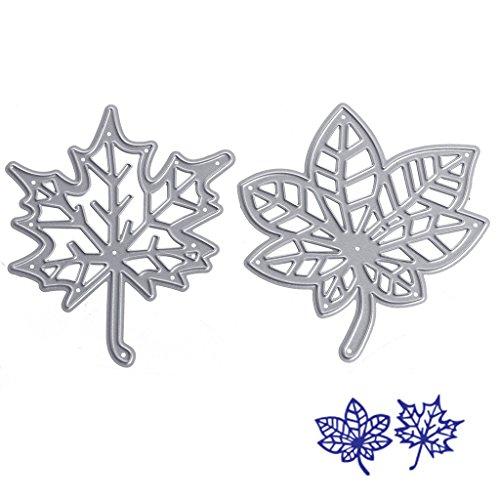 NNDA CO Maple Leaf Cutting Dies Stencils DIY Scrapbook Album Paper Card Embossing Craft,Silver,2Pcs