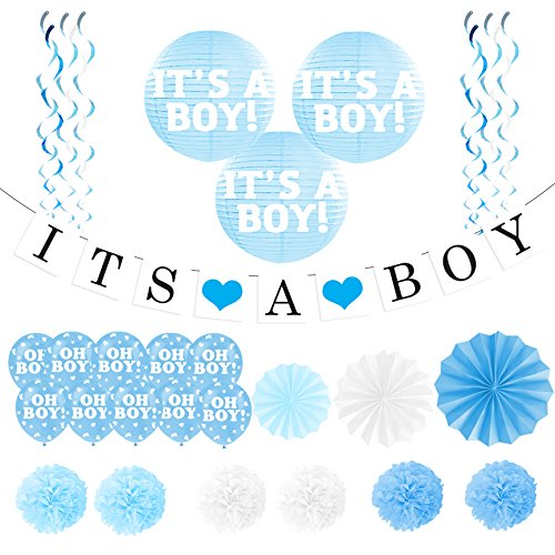 "Baby Shower Decorations For Boy - ""It's A Boy"" Banner and Balloon Pack - Pregnancy Announcement - Gender Reveal Party Pack (Baby Shower Cheap Decorations)"