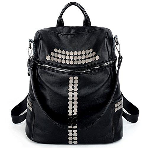 ce34ec5db175 UTO Women Backpack Purse 3 ways Rivet Studded PU Washed Leather Ladies  Rucksack Shoulder Bag Black