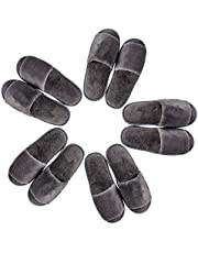 5 Pairs Disposable Slippers, Gray Velvet Open Toe Spa Slippers for Women and Men, Non-Slip Slippers for Hotel, Guests, Travel