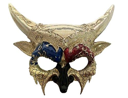 Horned Devil Half Mask Adult Venetian Crackled Finish Costume Accessory Silver