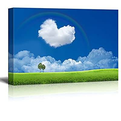 Canvas Prints Wall Art - Blue Sky with Heart Shaped Cloud and a Rainbow Romantic Scene | Modern Wall Decor/Home Decoration Stretched Gallery Canvas Wrap Giclee Print & Ready to Hang - 24