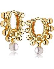 Fettero Huggie Earrings Gold Hoop Diamond Cubic Zirconia Open Star Tassel Dangle Drop Sleeper 14K Gold Plated Dainty Minimalist Simple Boho Hypoallergenic Small Jewelry Gift for Women