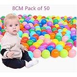 8cm Pack of 50 Phthalate Free BPA Free Crush Proof Plastic Ball, Pit Balls for Kids ,Ocea n Ball,Ball Pit Balls