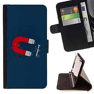 For HTC One M7,S-type Imán y uñas divertido- Dibujo PU billetera de cuero Funda Case Caso de la piel de la bolsa protectora