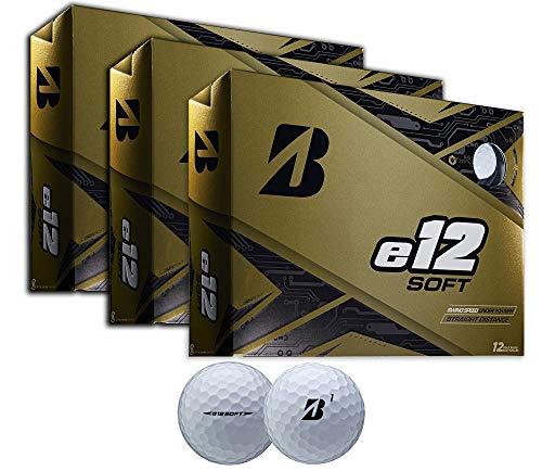 PlayBetter Bridgestone e12 Soft Premium Golf Balls | Multi-Packs | Straighter Distance & Higher Ball Velocity at Impact (White, Three Dozen) ()