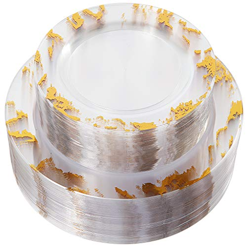 NERVURE 102PCS Clear with Gold Marbling Plastic Plates-Disposable Plastic Plates with Gold Marbling- Plastic Wedding Party Plates including 51Plastic Dinner Plates 10.25inch,51 Salad Plates 7.5inch]()