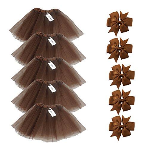 BGFKS 5 Pack Tutu Skirt for Girl Ballet Dance Costume Dress up Girl Tutus (Coffe)