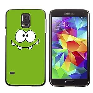 LECELL--Funda protectora / Cubierta / Piel For Samsung Galaxy S5 SM-G900 -- Green Monster Cute Eyes --