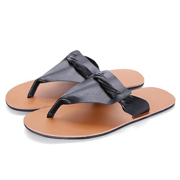 HUAN Herren Sandalen Casual Beach Schuhe Hausschuhe  Flip-Flops Rutschfeste Mode Sommer Weiszlig; Schwarz Braun