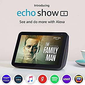 "Introducing Echo Show 8 – Smart display with Alexa - 8"" HD screen with stereo sound – Black"