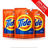 Tide Liquid Laundry Detergent Smart Pouch, Original Scent, HE Turbo Clean, Pack of three 48 oz. pouches, 93 loads