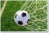 Soccer Ball In Goal Net Paper Print Wall Art (36in. x 54in.)