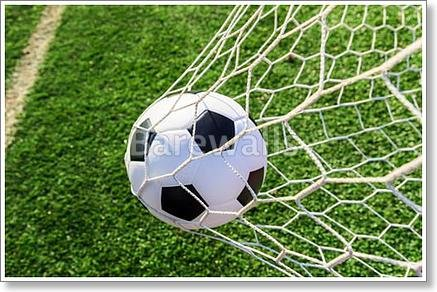 Soccer Ball In Goal Net Paper Print Wall Art (36in. x 54in.) by barewalls
