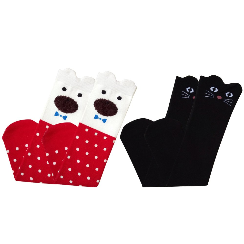 2 Pair of Kids Girls Spring Autumn Cotton Cartoon Cat Knee High Tube Sock Stockings Socks for 3-12 Years Old Girls Style A Gosear