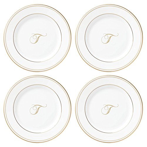 Lenox Federal Gold Script Monogram Dinnerware Tidbit Plates, Set of 4, T
