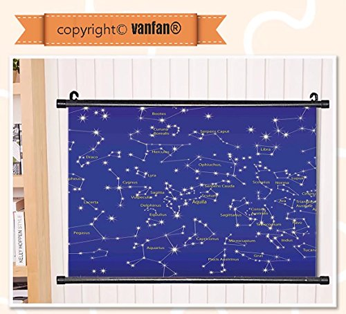 vanfan Wall Scroll Poster- Constellation Astronomy Science Names of Star Wall Art Waves Paiting on Canvas, Pictures Wall Hanging Canvas Scroll Paintings For Living - Painting Constellation