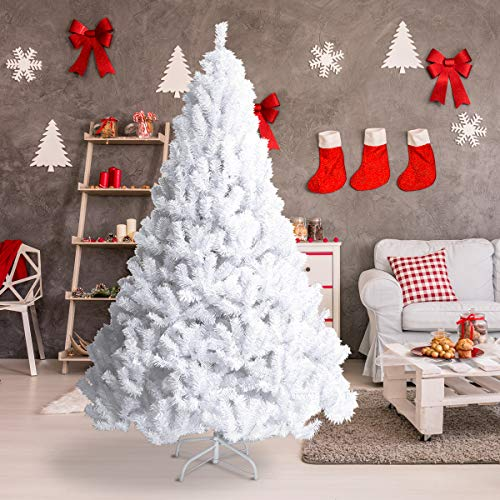 Of Christmas Pictures Trees White - Goplus Artificial Christmas Tree Xmas Pine Tree with Solid Metal Legs Perfect for Indoor and Outdoor Holiday Decoration (6 feet, White)