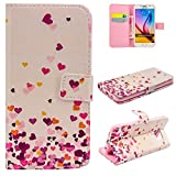 iGrelem Wallet Leather Case for Galaxy S6 Edge [with Free Tempered Glass Screen Protector], Dandelion, Love Heart, Rose, Butterfly, Colorful Pattern PU Leather Case for Galaxy S 6 Edge, Samsung Galaxy S6 Edge Protective Cover (Love Heart #2, Pink)