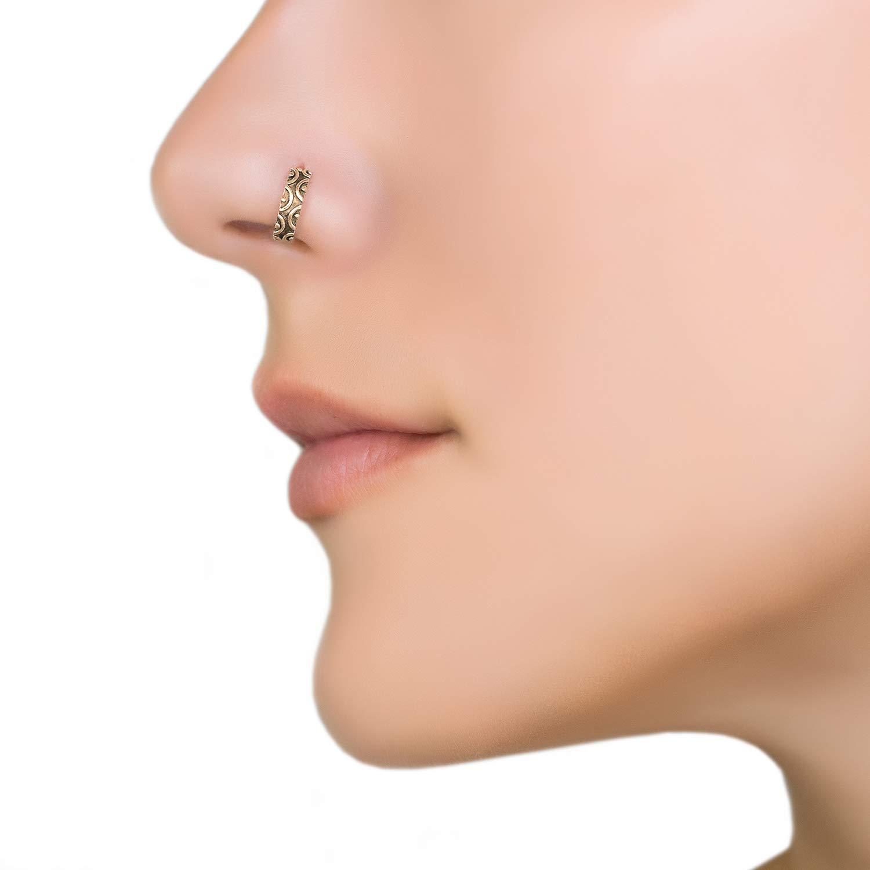 Brass Piercing Septum golden Nose Ring Tribal Ethno Boho